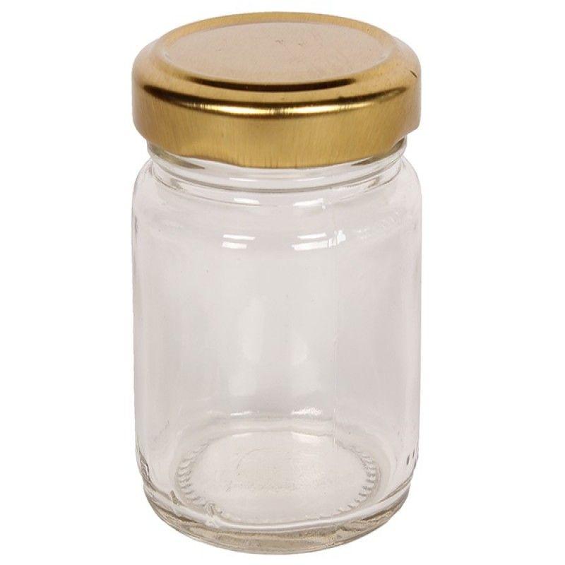 Βάζο αποθήκευσης γυάλινο 106 ml Φ5,5Χ6 εκ. με μεταλλικό καπάκι