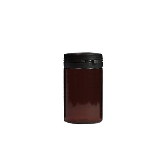 Βαζο πλαστικό pet καραμελέ Pill Jar 100ml με Μαύρο πώμα ασφαλείας